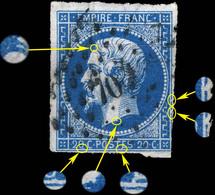 France - Yv.14A 20c Empire T.1 - Planché Pos. 128G2 - Oblltéré - B - 1853-1860 Napoléon III
