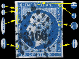 France - Yv.14A 20c Empire T.1 - Planché Pos. 008D4 - Obl. Pc 3166 (St.-LÔ) - Aminci - 1853-1860 Napoléon III