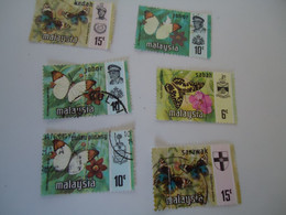 STATES DIFFERENT   MALAYSIA USED STAMPS BUTTERFLIES - Negri Sembilan
