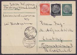 "Haute Silésie - EP CP 6pf Vert + 9pf Annulation Griffe ""BIELITZ OBERSCHLESIEN"" (Bielsko-Biała) Daté 28 Octobre 1938 Pour - Silesia (Lower And Upper)"