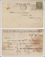 IRELAND - J&Co. Perfin Postcard - W & R Jacob & Co. Ltd. 1924 To Curacoa - Storia Postale