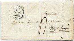 SEINE ET MARNE De MEAUX Bulletin Scolaire Du 1/01/1843 Avec Dateur T 13 Et Taxe De 4 Pour VITRY LE FRANCOIS - 1801-1848: Voorlopers XIX