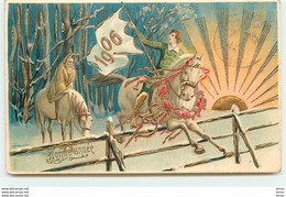 N°14978 - Carte Gaufrée - Bonne Année 1906 - Homme à Cheval Sautant Une Barrière - Anno Nuovo