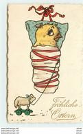 N°14970 - Fröhliche Ostern - Poussin Avec Un Mouton En Jouet - Pasqua