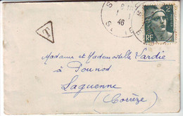 1 JANVIER 1946 1er JOUR  DU TARIF TAXE !!!! Lettre Rare , Marianne De GANDON , Laguenne Correze - 1921-1960: Modern Period