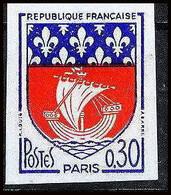 France N°1354B Armoirie De Villes Paris Drakkar Paire Non Dentelé ** MNH (Imperf) - Ongetand