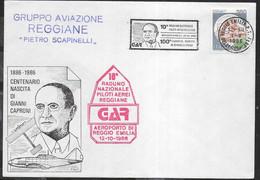 """ANNULLO A TARGHETTA """" 10° RADUNO NAZIONALE PILOTI AEREI REGGIANE..."""" UFF. REGGIO EMILIA 1.X.1988 SU BUSTA MANIFESTAZIONE - 1981-90: Marcophilia"""