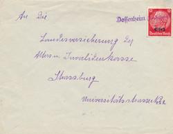 "Alsace HINDENBURG 12pf Griffe Linéaire "" DOSSENHEIM ( KR ZABERN ) "" Sur Lettre > Strasbourg - Alsace Lorraine"