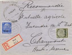 "Alsace HINDENBURG Lettre Recommandée Obl "" WALF  25/11/40 "" VALFF Bas Rhin  Tarif Etranger 55pf CENSURE Censor - Alsace Lorraine"
