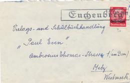 """LORRAINE HINDENBURG 12pf Griffe """" ENCHENBERG """" + Date Tampon 12 Feb 1941 + Cachet Gemeinde Lambach - Alsace Lorraine"""