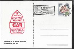 """ANNULLO A TARGHETTA """" 10° RADUNO NAZIONALE PILOTI AEREI REGGIANE..."""" UFF. REGGIO EMILIA 1.X.1988 SU CARTOLINA - 1981-90: Marcophilia"""