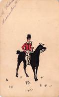 """03030 """"LORD A CAVALLO  - BIGLIETTO AUGURALE SU CARTONCINO CON DECORI ORIGINALI IN ACQUERELLI ED INCHIOSTRO NERO"""" 1895 - Other"""