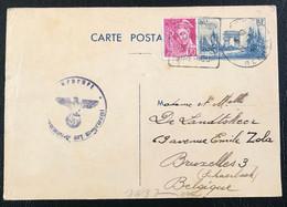 France 1940 Carte Postale (403-CP2) De Cessenon-sur-Orb Vers Bruxelles (Belgique) Vérifiée Par La Censure SS (1047) - Covers & Documents