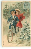 Carte Gaufrée - Bonne Et Heureuse Année - Enfants Sur Un Vélo Sous La Neige - Nouvel An