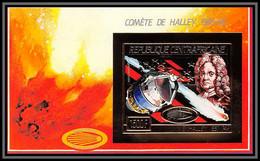 85971/ N°399 B 1986 Comète Halley's Comet Espace (space) Centrafrique Centrafricaine OR Gold ** MNH Non Dentelé Imperf - Central African Republic