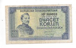 *czechoslovakia 20 Korun 1945  Km 61   Vf+ - Cecoslovacchia