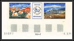 90012b Taaf Terres Australes PA N°25/26 26A Port-aux-français Non Dentelé ** MNH Imperf Avec Date Type 2 1 Trait - Ongetande, Proeven & Plaatfouten