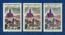 ⭐ France - Variété - YT N° 1308 - Couleurs - Pétouille - Neuf Sans Charnière - 1961 ⭐ - Varieties: 1960-69 Mint/hinged
