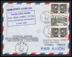 3615 France Lettre (cover) N°1197 école Des Mines Liaison MILAN Rome Athenes Istambul Caravelle 1959 Aviation - Eerste Vluchten