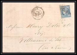 8712 LAC N 46B Bordeaux 20c GC 1706 Granville Manche Pour Villeneuve Sur Lot France Lettre (cover) - 1849-1876: Classic Period
