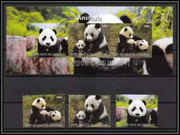 2074b/ Bloc + Serie Ours Bear Bears Panda Neuf ** MNH Tirage Privé Vignette Non Dentelé Imperf - Beren
