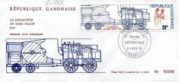 GABON A 162/65 Fdc Train, Locomotives France, USA, Russia, England - Treni