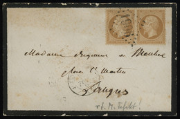 TREASURE HUNT [00514] France 1863 Mourning Cover From Juzennecourt To Langres Franked With Napoleon III 10c Bistre Pair - 1862 Napoléon III
