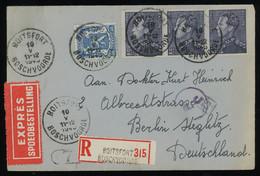 TREASURE HUNT [00520] Belgium 1943 Express Reg. Cover From Boitsfort To Berlin Bearing 2.25fr Blue-grey Strip Of 3 - Brieven En Documenten