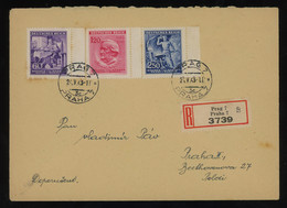 TREASURE HUNT [00527] Bohemia And Moravia 1943 Reg. Cover Sent Within Prague With Richard Wagner's Anniv. Complete Set - Lettres & Documents