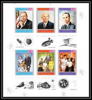 755 Yemen Kingdom MNH ** N° 809 A /F B Apollo 11 Astronauts Armstrong Non Dentelé (Imperf) Sheet Espace (space) - Asia