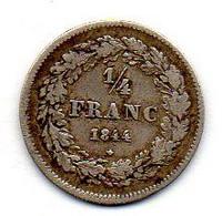 BELGIUM, 1/4 Franc, Silver, Year 1844, KM #8 - 06. 1/4 Frank