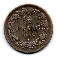 BELGIUM, 1/2 Franc, Silver, Year 1834, KM #6 - 07. 1/2 Frank