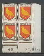 1116 - France - Coin Daté TB Neuf ** Blason - Armoiries N°1004 Date 22/9/1954 - 1950-1959