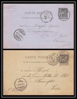 1453 France Entier Postal Stationery Lot De 2 Carte Postale Type Sage Pour La Suisse (Swiss) Fraunenfeld Basel - Standard Postcards & Stamped On Demand (before 1995)
