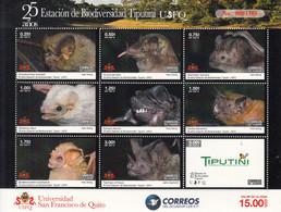 2019 Ecuador Biodiversity Tiputini Bats Miniature Sheet Of 9 MNH - Equateur