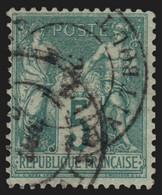 France N°64, Sage 5c Vert, Type I, Oblitéré COTE 60€ - TB - 1876-1878 Sage (Typ I)