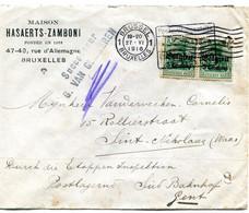1916 Zensur Censuur Enveloppe Maison Hasaerts Zamboni Brussel 1 - Durch Die Etappen Inspektion Sud Bahnhof Gent - [OC1/25] Gen. Gouv.