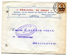 1916 Zensur Censuur Enveloppe E. De Smedt Brussel 1 - Ovale Censuur Stempel Gepruft 5 Brussel - Sint Joost Ten Noode - [OC1/25] Gen. Gouv.