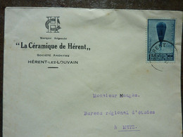 1930  Lettre  5 Timbres   Cachet  HERENT    PERFECT - Storia Postale