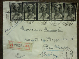 1935  Lettre 5 Timbres  Cachet  BRUXELLES BRUSSEL - Covers & Documents