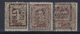 Koning Albert I Nr. 136 Type II Voorafgestempeld Nr. 2547 A + B + C GILLY 1920 ; Staat Zie Scan ! - Roller Precancels 1920-29