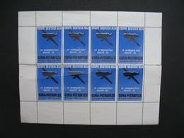 Vignette Bloc De 8 - Label Stamp Vignetta  Aufkleber Coupe Deutsch 1934 Le Vainqueur était De L'équipe CIMA-PETROFLEX - Aviation