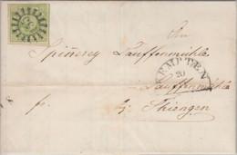 Bayern - 9 Kr. Quadrat Grün GMR 155 Kempten Brief N. Thingen/Baden 1851 - Beieren