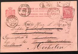 Pays-Bas 1895 CP De Surabaya (Indes Néerlandaises) Déviée Trois Fois Destination Finale Malines (Bel) (1051) - Netherlands Indies