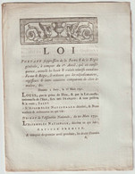1791, Loi Portant Suppression De La Ferme Et De La Régie Générale - Décrets & Lois