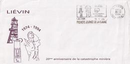 Liévin - 62 -  - Sur Enveloppe Commémorative Catastrophe Minière 1974 -  1ère Journée Flamme 20 Ans Déjà ... -15/10/94 - Mechanical Postmarks (Advertisement)