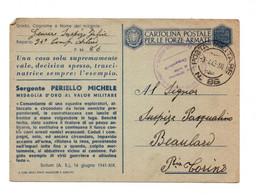 "13735"" 1942-MEDAGLIE D'ORO-SERGENTE PERIELLO MICHELE ""-CART. POST. SPEDITA 1943 - Stamped Stationery"