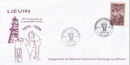 Liévin - 62 -  - 20 éme Anniversaire De La Catastrophe Minière 1974  - 27/12/1994 - Timbre Mineurs 2f15 Surcharge 1f - Commemorative Postmarks