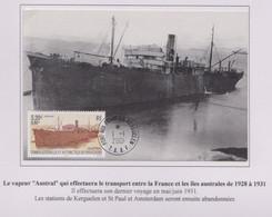 TAAF - Iles Australes - Kerguelen 1-1-2001 - Carte Maximum - P303 - Austral - Lettres & Documents