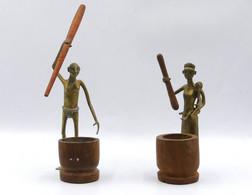 Lot De 2 Statuettes Africaines En Bronze - Art Africain